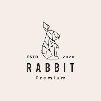 Logo vintage di origami coniglio lepre coniglietto