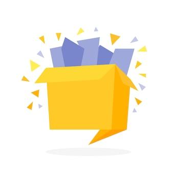Scatola regalo aperta piatta in stile origami con illustrazione vettoriale di coriandoli.