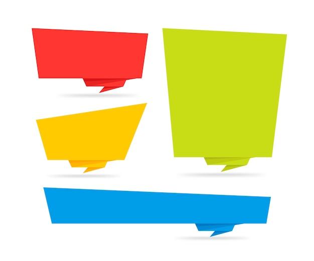 Adesivo stile origami e tampone banner. su sfondo bianco. vuoto per testo, sito web e progetti