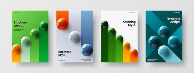 Pacchetto di layout di volantini con sfere 3d originali