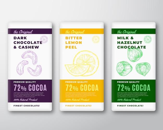 L'etichetta di imballaggio originale dell'estratto di cioccolato più fine. tipografia moderna e anacardi e nocciole disegnati a mano con layout di sfondo sagoma schizzo di limone amaro.