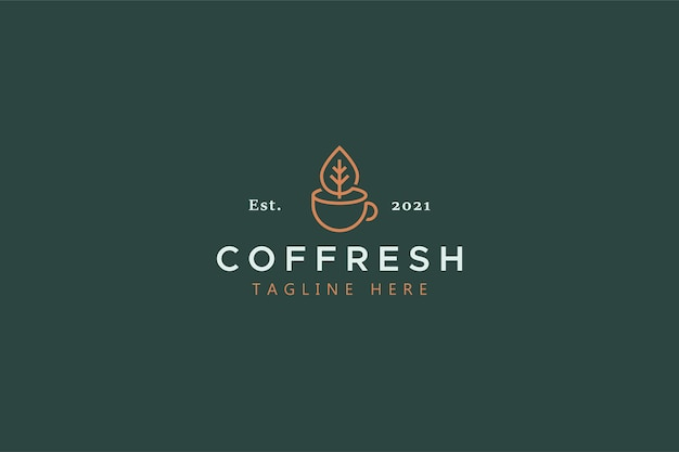 Concetto di logo di idea creativa tradizionale di caffè e tè freschi originali