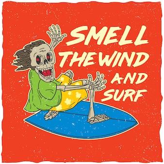 Poster originale con parole sull'odore del vento e sull'illustrazione del surf