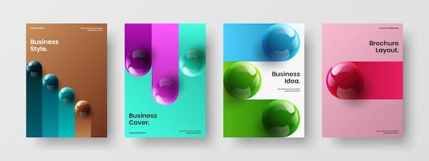 Set di layout di cartelli con palline realistiche originali