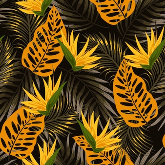 Modello tropicale senza cuciture originale con piante e foglie luminose su uno sfondo nero