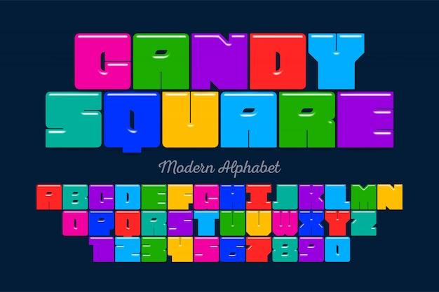 Carattere display originale quadrato, alfabeto, lettere e numbe