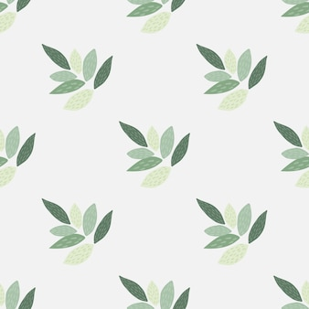 Ornamento foglie modello botanico senza soluzione di continuità. elementi verdi e sfondo chiaro in toni pastello. design semplice.