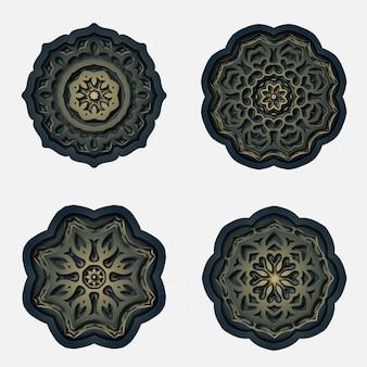 Disegno mandala ornamento, decorazione taglio laser