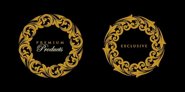 Ornamento set round gold logo esclusivo emblema