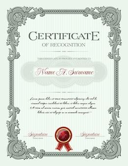 Ornamento vintage frame certificato di riconoscimento