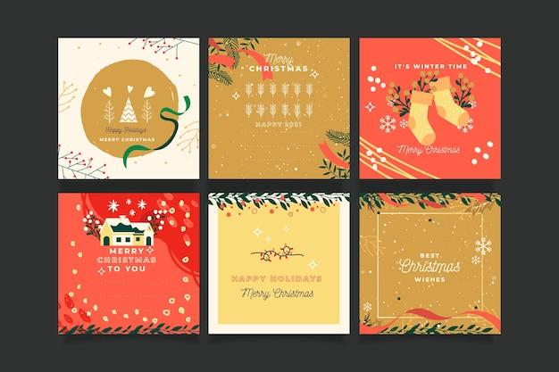 Collezione di cartoline di natale ornamentali