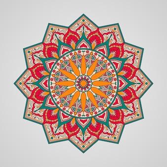 Design ornamentale mandala colorato su sfondo bianco