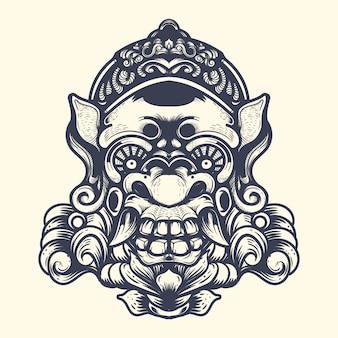 Diavolo ornamentale faccia inchiostrazione illustrazione grafica