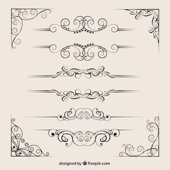 Collezione divisori ornamentali Vettore Premium