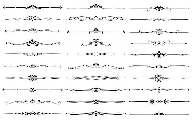 Set divisori ornamentali e bordi floreali.