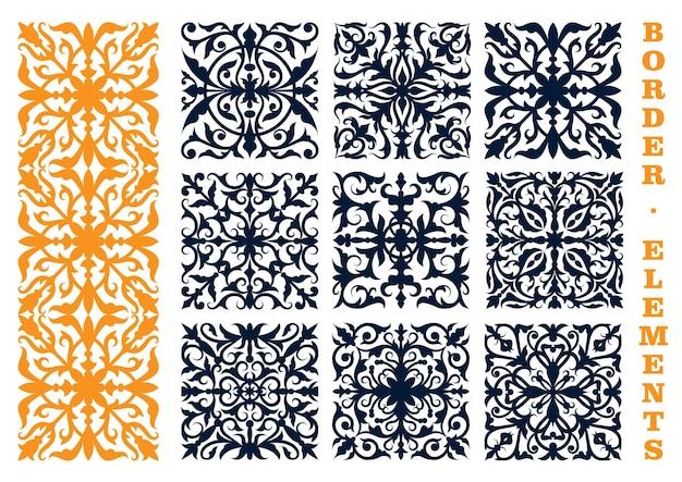 Elementi di disegno floreale ornamentale per l'utilizzo di bordi, cornici o decorazioni di pagine con motivi floreali traforati e rami frondosi