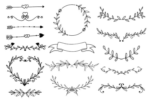 Cornice floreale disegnata a mano ornamentale, bordo e banner