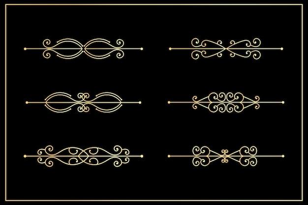 Ornamentale insieme disegnato a mano di cornici decorative bordi elementi di decorazione della pagina