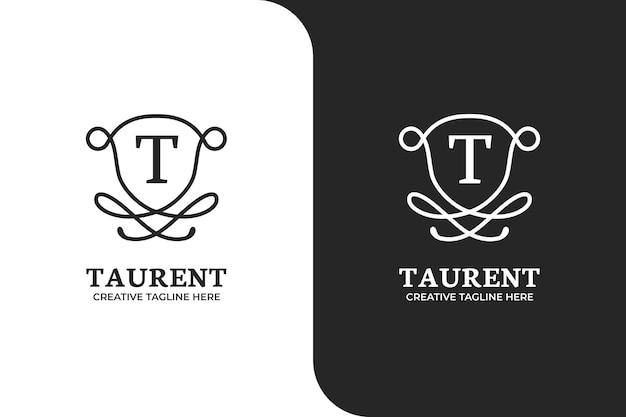 Modello di logo lettera t ornamentale