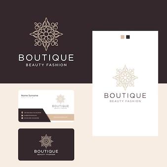 Design del logo floreale di lusso ornamentale e biglietto da visita