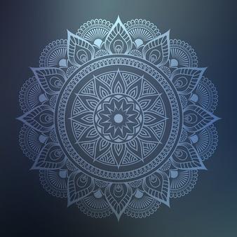 Mandala ornamentale con arabeschi floreali in stile orientale islamico color argento