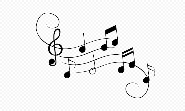 Icona di note musicali ornamentali in nero. suono. vettore su sfondo bianco isolato. env 10.