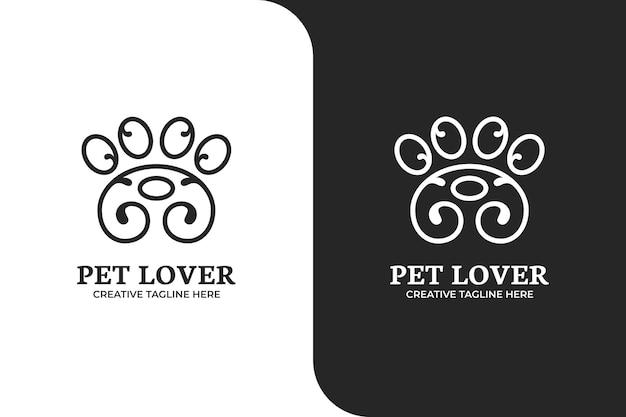 Modello di logo per la cura dell'animale domestico della zampa ornamentale