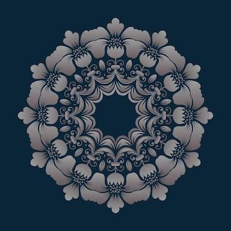Pizzo tondo ornamentale con damasco ed elemento arabesco