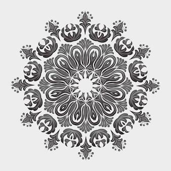 Pizzo rotondo ornamentale con elementi damascati ed arabeschi. stile mehndi. oriente ornamento tradizionale