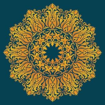 Pizzo rotondo ornamentale con elementi damascati ed arabeschi