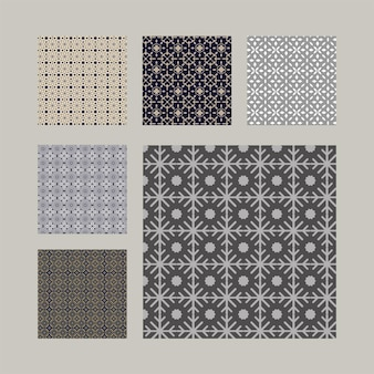 Set di motivi ornamentali senza soluzione di continuità