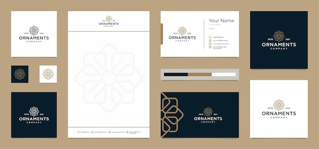 Disegni del logo di ornamenti con biglietto da visita e carta intestata gratuiti
