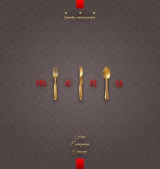Menu di copertina ornato con posate d'oro - illustrazione