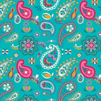 Motivo paisley decorato con decorazioni floreali