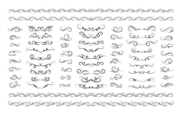 Elementi del telaio ornato set vintage decorazione ornamento cornici scorrimento turbinii vettore