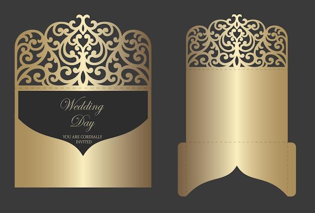 Design con busta piegata per inviti di nozze con taglio laser ornato. modello di plotter da taglio.
