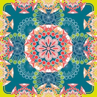 Ornato motivo floreale senza soluzione di continuità su sfondo blu