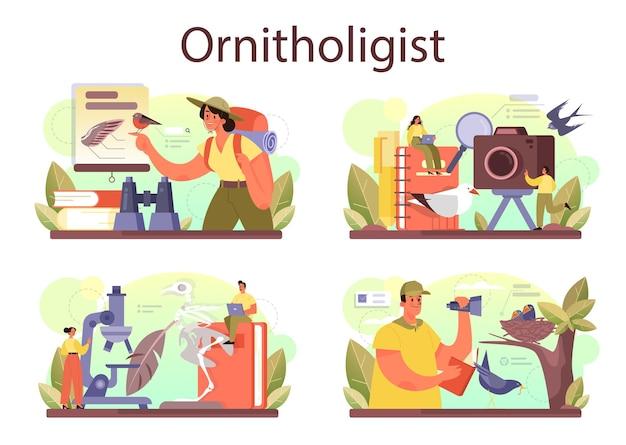 Insieme di concetti di ornitologo. uccelli di studio dello scienziato professionista. zoologo