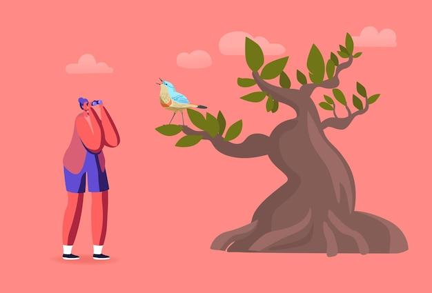 Personaggio femminile ornitologo con il binocolo che guarda l'uccello sull'albero, hobby di birdwatching, attività all'aperto, esplora la natura
