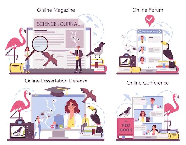 Servizio online di ornitologo o set di piattaforme.