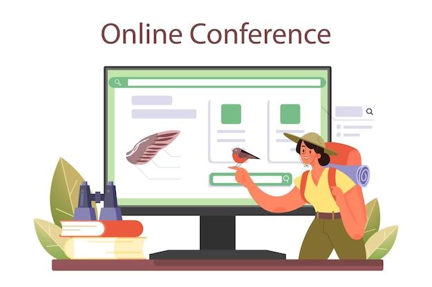 Servizio o piattaforma online di ornitologo. ricerca dello zoologo che studia gli uccelli, naturalista che lavora con l'uccello. conferenza in linea. illustrazione vettoriale piatta