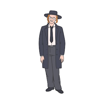 Personaggio dei cartoni animati dell'uomo ebreo ortodosso nell'illustrazione di vettore di schizzo del cappello isolata