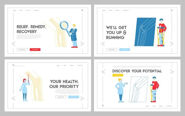 Ortopedia concilium, set di modelli di pagina di destinazione sanitaria