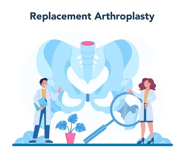 Medico ortopedico. idea di trattamento delle articolazioni e delle ossa. anatomia umana e struttura ossea. sostituzione dell'articolazione per artroplastica.