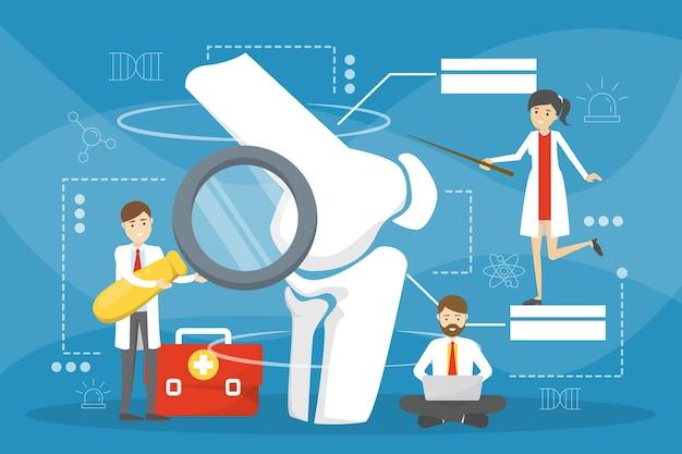 Medico ortopedico. idea di trattamento delle articolazioni e delle ossa. anatomia umana, parte del ginocchio. illustrazione in stile cartone animato
