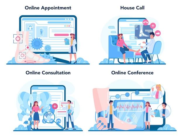 Servizio online medico ortopedico o set di piattaforme