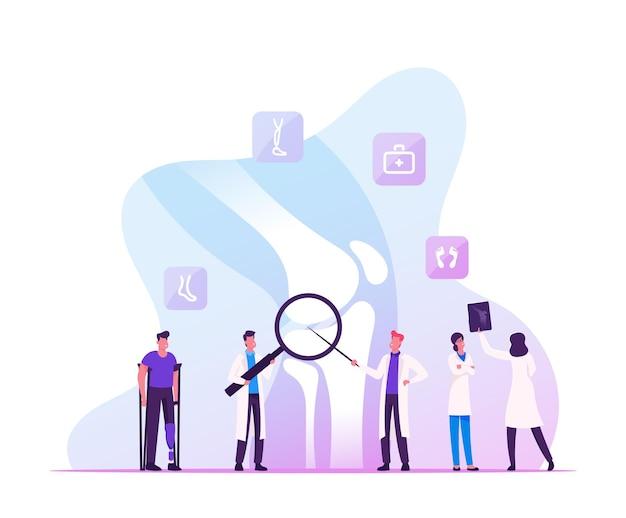 Concilium medico ortopedico, concetto di assistenza sanitaria. cartoon illustrazione piatta