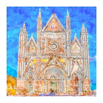 Illustrazione disegnata a mano di schizzo dell'acquerello del duomo di orvieto italia