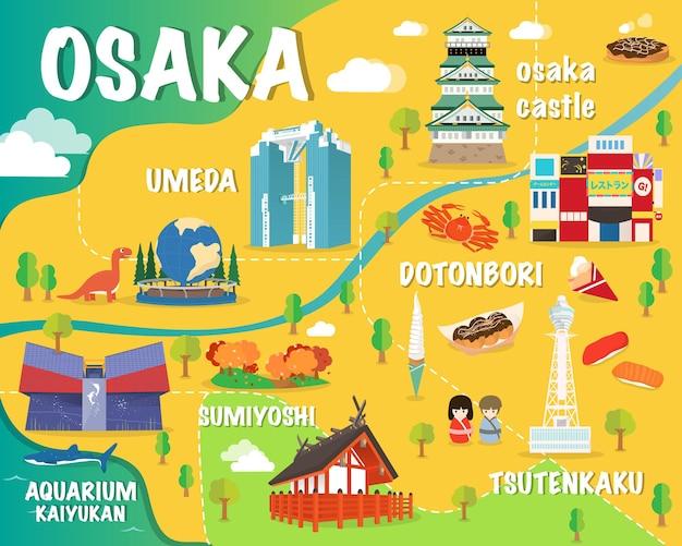 Mappa di osaka con punti di riferimento colorati giappone illustrazione design