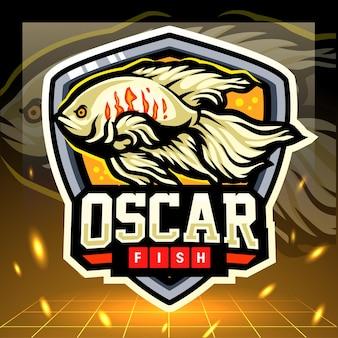 Oscar pesce mascotte esport logo design